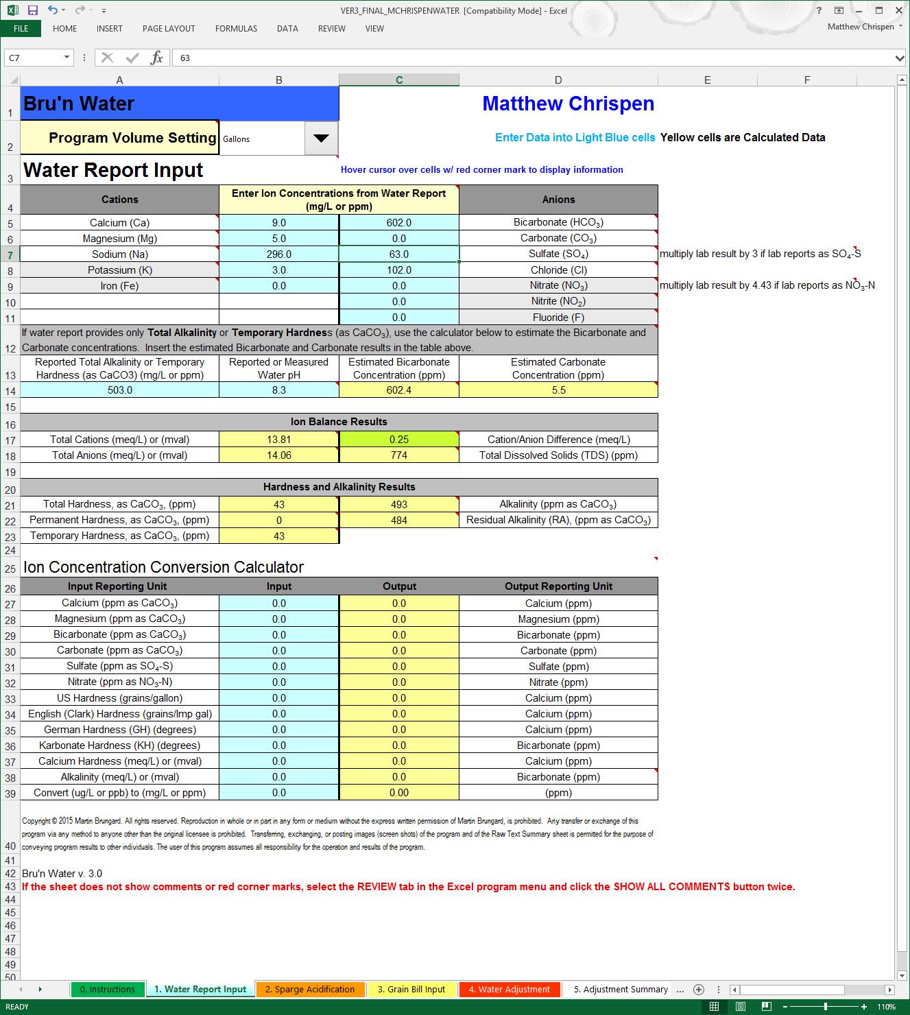 BWS 3.0 Water Report Input